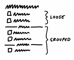 Maquette de la todo list avec groupes